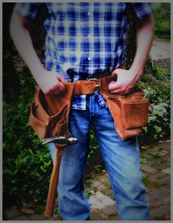 Person wear a tool belt to represent the build option in build or buy