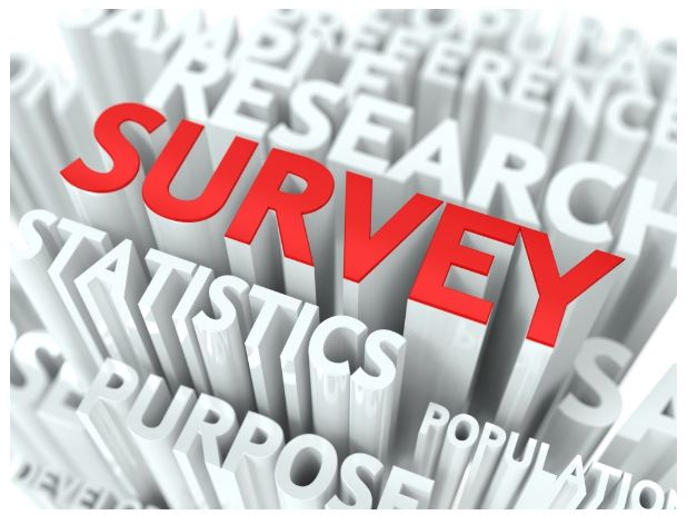 The word Survey highlighted in red over other words in white to represent the user survey