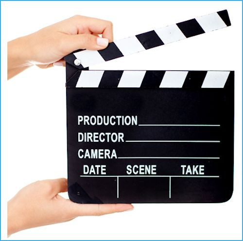 movie clapboard representing video testimonials production