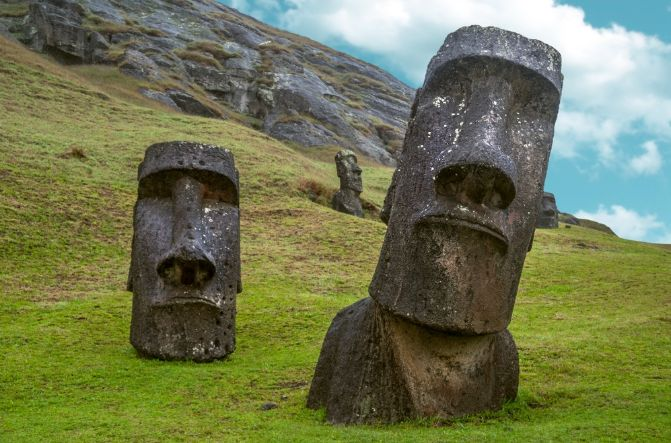 East Island moais, also know as megaliths or heads.