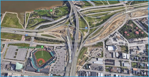Convoluted highway interchange in downtown Louisville