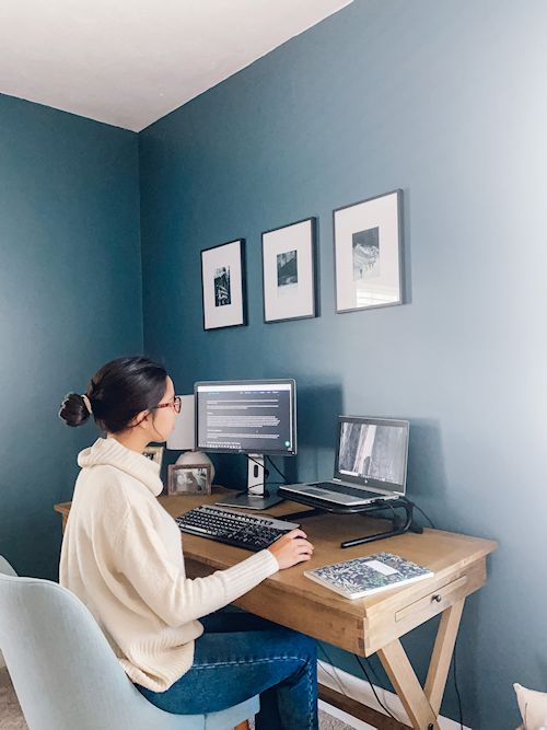 Young woman working at home office
